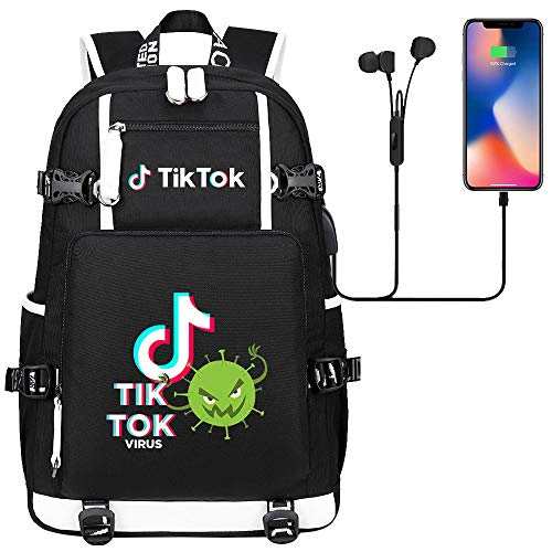 Backpack Lightweight Teen Backpack Hiking Backpack USB Port 45cm*30cm*15cm Black