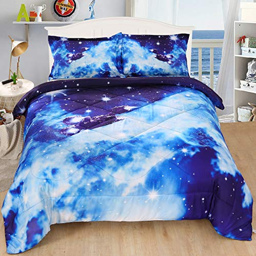 KINBEDY 3D Tencel Cotton 3PC Blue Galaxy Comforter Sets Queen Full Size for Teen Kids Comforter Bedding Sets 1 Comforter with 2 Pillowcases.