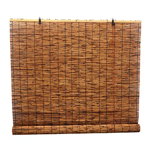 KDDFN Rideaux en Roseau de Carbonisation,Store Enrouleur Bambou,Rideau de Paille,Tissés à La Main,Store Anti-Regard,Décoration Intérieure/Extérieure (90 * 200cm/36 * 79in)
