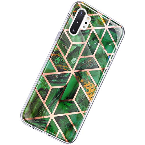 Herbests Kompatibel mit Samsung Galaxy Note 10 Plus Hülle Marmor Muster Glänzend Glitzer Bling Weich Silikon Hülle Kratzfest Schutzhülle Tasche Crystal Case Durchsichtig Dünn Handyhülle,Marmor Grün