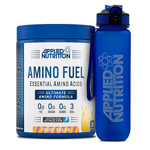 Applied Nutrition Bundle Amino Fuel 390g + Lifestyle Water Bottle 1000ml | Essential Amino Acid EAA Powder Supplement for Muscle Growth, 11g Aminos Per Serving with BCAAs (Fruit Salad)