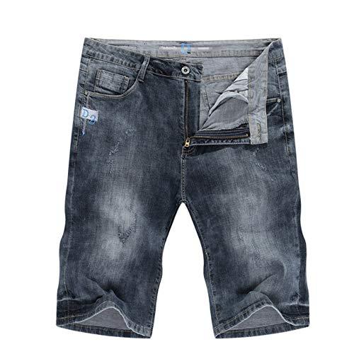 Hombres Jeans Grises Corto Verano Slim Slim Stretchy Fit Casual Boy Jean Shorts