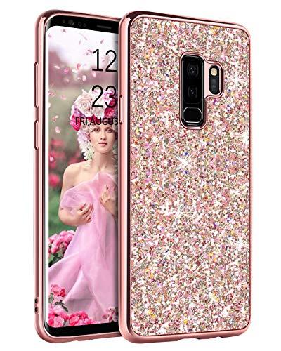 YINLAI Samsung Galaxy S9 Plus Hülle Glitzer Handyhülle Samsung S9 Plus Sparkle Bling Shiny Girly Cover Dünne Durable Hybrid TPU Stoßfest Stoßstange Hart Anti-Rutsch Schutzhülle für S9 Plus, Roségold