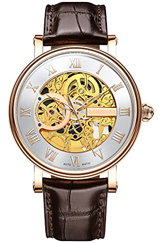 Lobinni Reloj de lujo mecánico automático de la banda del acero inoxidable del esqueleto dorado de los hombres, Rose-blanco-L,