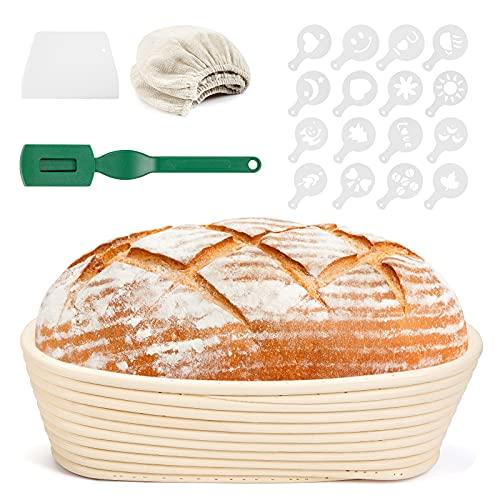 yumcute Cesta Fermentacion Pan Banneton Ovalada 650 g Cesta de fermentación de pan de ratán natural (Tela de Lino, Raspador de Masa, Cuchilla de Pan, 16* Molde de Decoración)