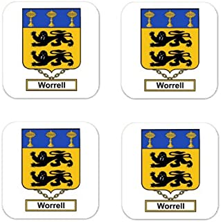 Worrell Family Crest Square Coasters Coat of Arms Coasters - Set of 4
