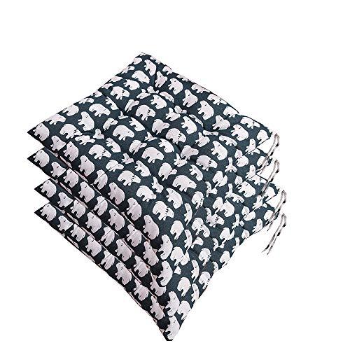 AGDLLYD – Juego de 4 Cojines de Silla de Lea, cojín Suave Acolchado con Lazos, decoración portátil, hogar, Oficina, cojín Suave 40 x 40 cm