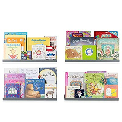 Wallniture Denver Floating Shelves for Wall, Kids' Bookshelf for Nursery Wall Decor, 22 Inch Gray Picture Ledge Shelf Set of 4