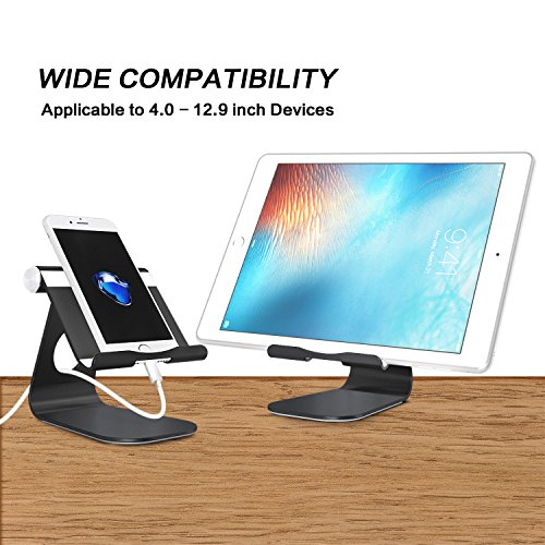 OMOTON Multi-Angle Tablet Stand, with Portable Adjustable Dock for iPad Pro 11/12.9(2020/2018)/iPad 10.2 (2019) and More iPad, Samsung Tablet etc, Durable Holder and Minimalist Design, Black