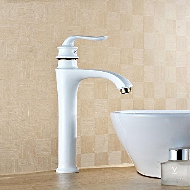 MNLMJ Einfache kupferne heie und kalte Wasserhhne Küchenarmatur Gebackene weie Lack Wasserhahn Sitzwaschbecken Mischbatterie Wasserhahn Becken Wasserhahn Geeignet für alle Badezimmer Küchenbecken