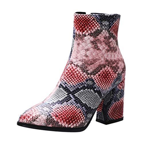 Snake Print Laarzen Vrouwen Mode Punt Teen Hoge Hakken Dames Schoenen Britse Stijl Grote Maat Laarzen Botas Mujer