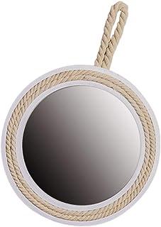 YARNOW Decorativo Redondo Colgante Espejo de Pared Marco de Madera Espejo Cuerda Colgante Bucle Rústico para Pared Baños D...