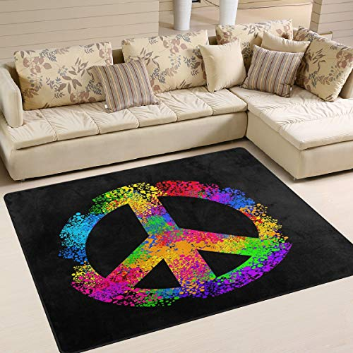 """ALAZA Hippie Stylish Colorful Peace Sign Area Rug Rugs for Living Room Bedroom 5'3""""x4'"""