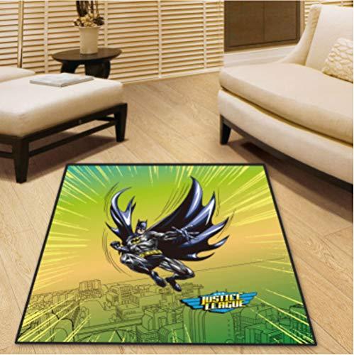 chengcheng DC Comics Justice League Alfombra Dormitorio Sala de niños Vestíbulo Alfombra Antideslizante Silla de Piso Pad Drum Pad 200x200cm