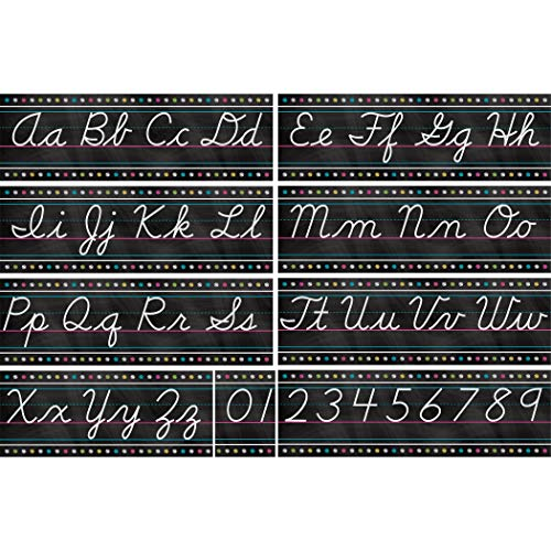 Teacher Created Resources Chalkboard Brights Cursive Writing Bulletin Board Set TCR5858
