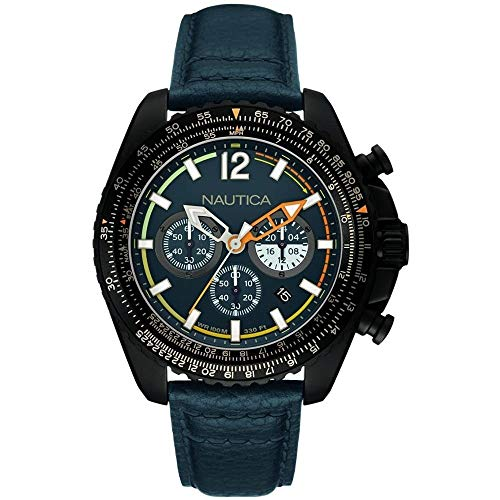 Nautica Orologio Cronografo Quarzo Uomo con Cinturino in Pelle NAI22507G
