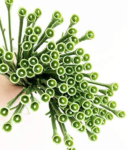 Yesok 100Pcs Artificial Flower Floral Stem Plastic Rose Floral Wire for DIY Craft Bouquet Rose Vine Wreath Garlands Silk Flower Arrangements