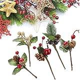 SUREH Lot de 20 mini tiges rouges en pin artificiel avec feuilles vertes sur fil pour décoration d'arbre de Noël, couronne de fleurs, cartes de vœux, fleurs