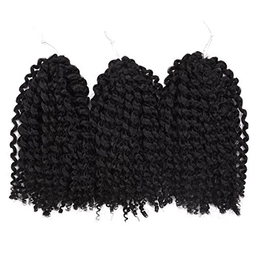 Silike (#1B) Marlybob/bouclés Curl (3/set) 20,3 cm Synthétique Cheveux bouclés Wave Crochet tressage