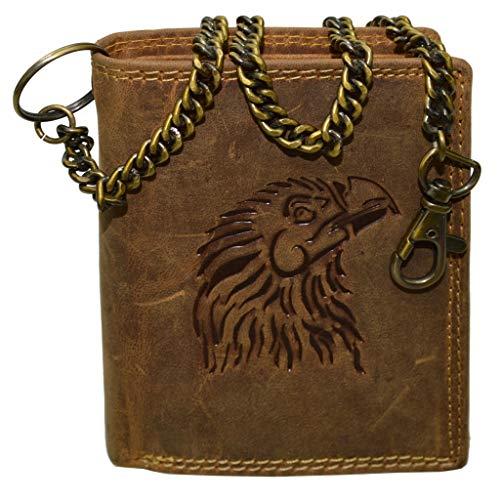 flevado Geldbeutel Wild Leder Geldbörse Portemonnaie mit Adler Präge Druck Hochformat und Hosenkette RFID Safe