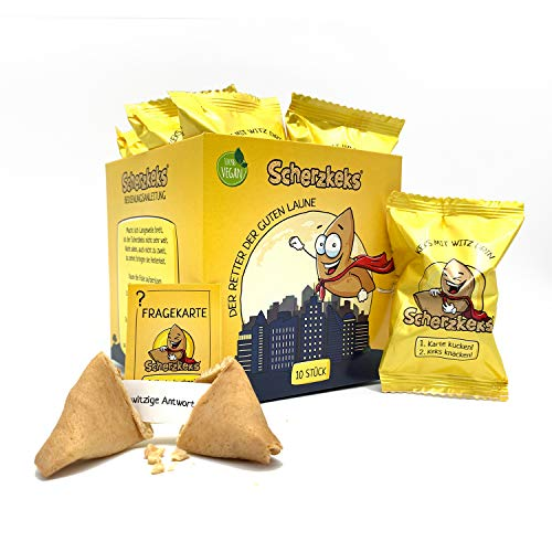 Scherzkeks® - eine Packung Heiterkeit, 10er Box Scherzkekse, 10 Kekse mit lustigen Witzen, Witze-Keks, Made in Germany, Geschenkidee, vegan