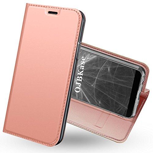 OnePlus 5T Hülle,OJBKase Premium Slim PU leder Handy Schutzhülle [Standfunktion] Hülle / Cover / Brieftasche / Ledertasche Bookstyle Tasche Lederhülle Handyhülle für OnePlus 5T (Roségold)
