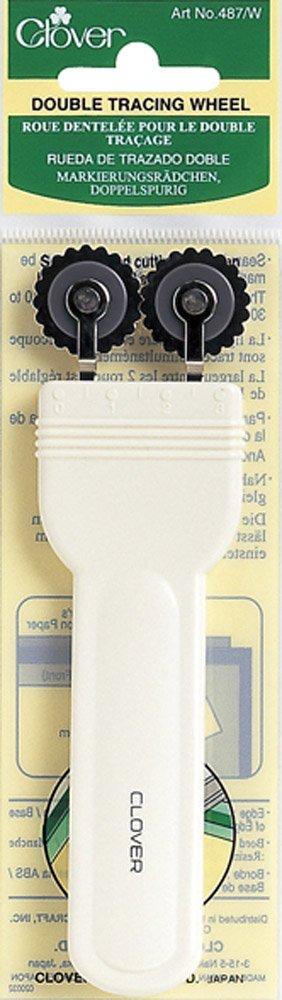 19x5.5x3 cm Pl/ástico Blanco Clover Doble Rueda de Trazado