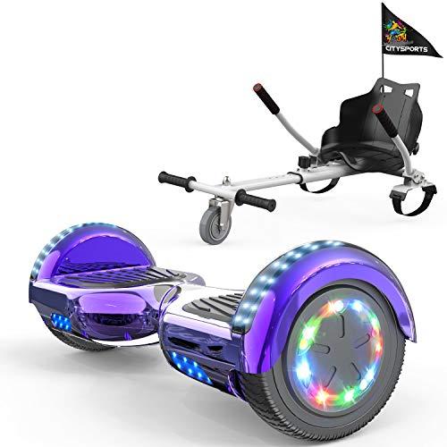 """COLORWAY Hoverboard Hover Scooter Board 6,5"""" con Asiento Kart con Ruedas de Flash LED, Patinete Eléctrico Altavoz Bluetooth y LED, Autoequilibrio de Scooter Eléctrico (Violeta-Blanco)"""