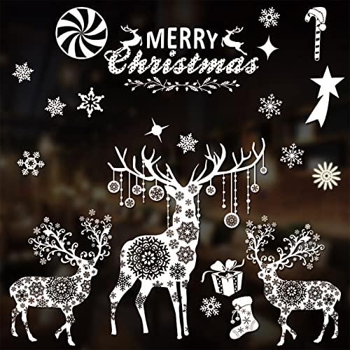 Pegatinas navideñas para ventanas, copos de nieve, renos, calcomanías extraíbles sin pegamento para decoración de ventanas navideñas, suministros para fiestas (reindeer)