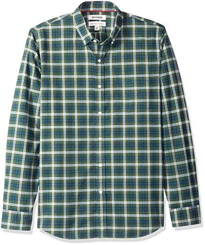 Marca Amazon - Goodthreads - Camisa Oxford a cuadros de manga larga y corte estándar para hombre, Azul (green navy tartan), US M (EU M)