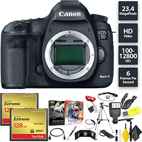 Fantastic Prices! Canon EOS 5D Mark III DSLR Camera (Body) + 256GB Memory Card (2X 128) Base Combo