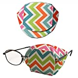 Pastel Chevron Eyepatch. Adorable Water Resistant Over-The-Lens Reusable, Handmade Eyepatch to Treat Amblyopia or Lazy Eye. Occlusion Wearing Glasses. an Excellent Alternative to Adhesive Patches.