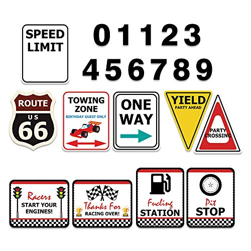 WERNNSAI Checkered Racing Party Decorations - 10PCS Funny Race Car Signs for Boys Paper Road Route Traffic Directions Cutout Signs Party Supplies