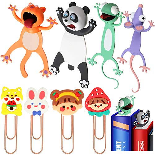 8 Pieces 3D Cartoon Animal Bookmarks, Novelty Funny Animals Bookmarks Wacky Cute Animal Bookmark for Teens Boys Girls Students Christmas Birthday Party Favors