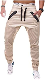 neveraway Men's Closed-Bottom Zip Pleated Drawstring Casual Jogger Sport Pants