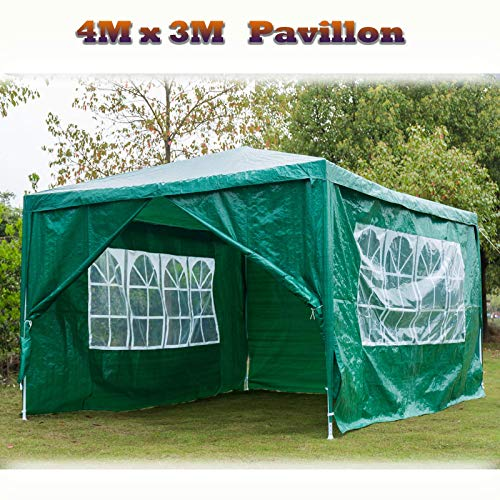 Küchenks 3x4m Garden Gazebo Tent Marquee Awning Party Canopy for Outdoor Wedding Garden with 4 Removable Side Panels, Waterproof - Green