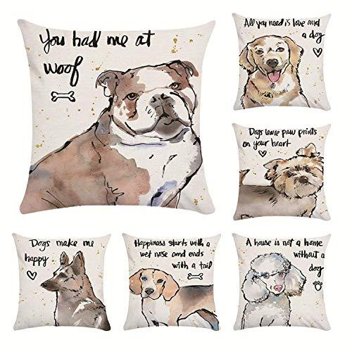 GHJU 6 x Kissenbezüge mit Hundemotiv, praktisch und schön, solide, flauschig, quadratisch, für Stuhl, Zuhause, Büro, Bar, Auto Qingqiao
