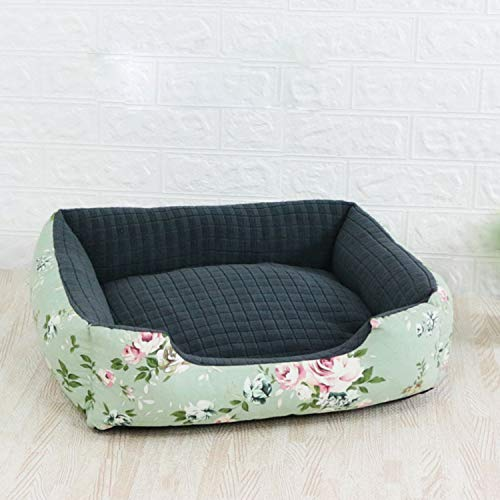 BOOL Haustier-Bett-Matte Anti-Angst-Hundebett Medium Anti Chew Dog Nest Anti-Rutsch-Boden Dog House Kissen Compressible Lair, Green Flower-S