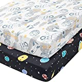 TILLYOU 2-Pack Snug Fit Microfiber Fitted Crib Sheet Set for Baby Boys Girls, Silky-Soft Hypoallergenic and Breathable Mattress Cover for Standard Toddler Bed, 28'x52'x8', Galaxy & Spaceships