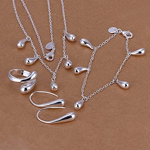 Boilyo Joyería de Las Mujeres de la Boda Classic 925 - Color de Plata de Plata Collar de Colores Pulseras Pendientes Anillo Conjuntos de joyería de Moda S218
