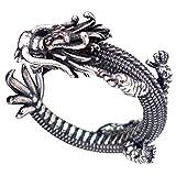 FORFOX Anillo meñique Abierto dragón Chino de Plata de Ley 925 Negro Vendimia para Hombre Mujer Ajustable 13-18