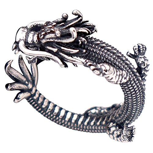 Anillo meñique abierto dragón chino de plata de ley 925 negro vendimia para hombre mujer ajustable 13-18