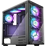 MUSETEX USB 3.0 Port, 6pcs RGB Fans Pre-Installed, ATX Mid-Tower PC Case Gaming Computer Case with Tempered Glass Decent Cable Management/Airflow (907N6)