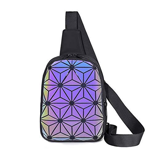 Geometric Luminous Backpacks Holographic Reflective Bag Lumikay Purse Irredescent Crossbody Bag Prism Sling Bag for Women Men Black Size: OneSize