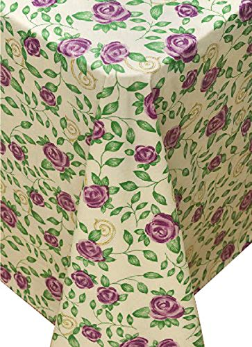 Broder Manufacturing Inc Rose Time Flannel Backed Vinyl Tablecloth, 60-Inch Round