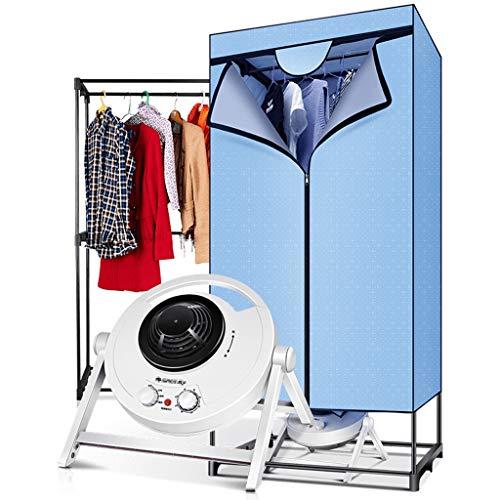 Haushaltswäschetrockner, 1200W tragbarer elektrischer quadratischer doppelschichtiger Wäschetrockner mit Deckel, Last 10kg Kleidung (Farbe : Blau)