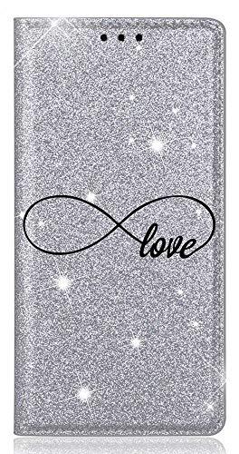 Mixroom - Custodia Cover Case in TPU Morbido con Libro Brillantini Glitter Argento per Samsung Galaxy J3 2017 Fantasia Simbolo Love Infinito codice BR336