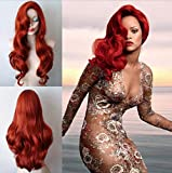 DINIFER Wigs Jessica Rabbit Christmas Present Copper Red Hair Female Cartoon Character Big Wave Wig