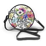 Colorido flores de jardín sin costuras, diseño redondo, bolso cruzado de piel sintética con cremallera, bolso de hombro para teléfono celular, para mujer