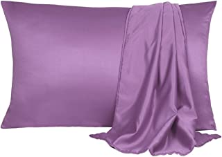 uxcell 2 Pack Silk Satin Pillowcase for Hair and Skin, Cool, Silky, Soft Breathable Pillow Cases Standard Size 20x26 Inch Purple with Envelope Closure